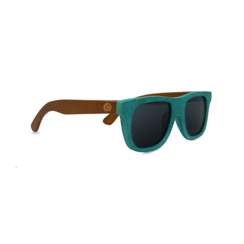 Kids' Blue Bamboo Wayfarer Sunglasses