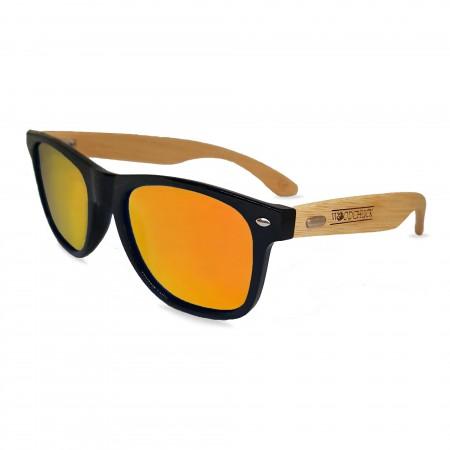 Woodie Wayfarer Sunglasses (Orange Mirror Lens)
