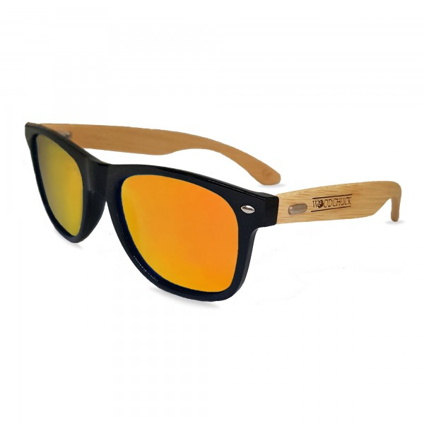 Woodie Wayfarer Sunglasses (Orange Mirror Lens)